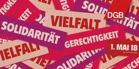 """Motiv zum 1. Mai 2018 mit dem Motto """"Solidarität, Vielfalt, Gerechtigkeit"""""""